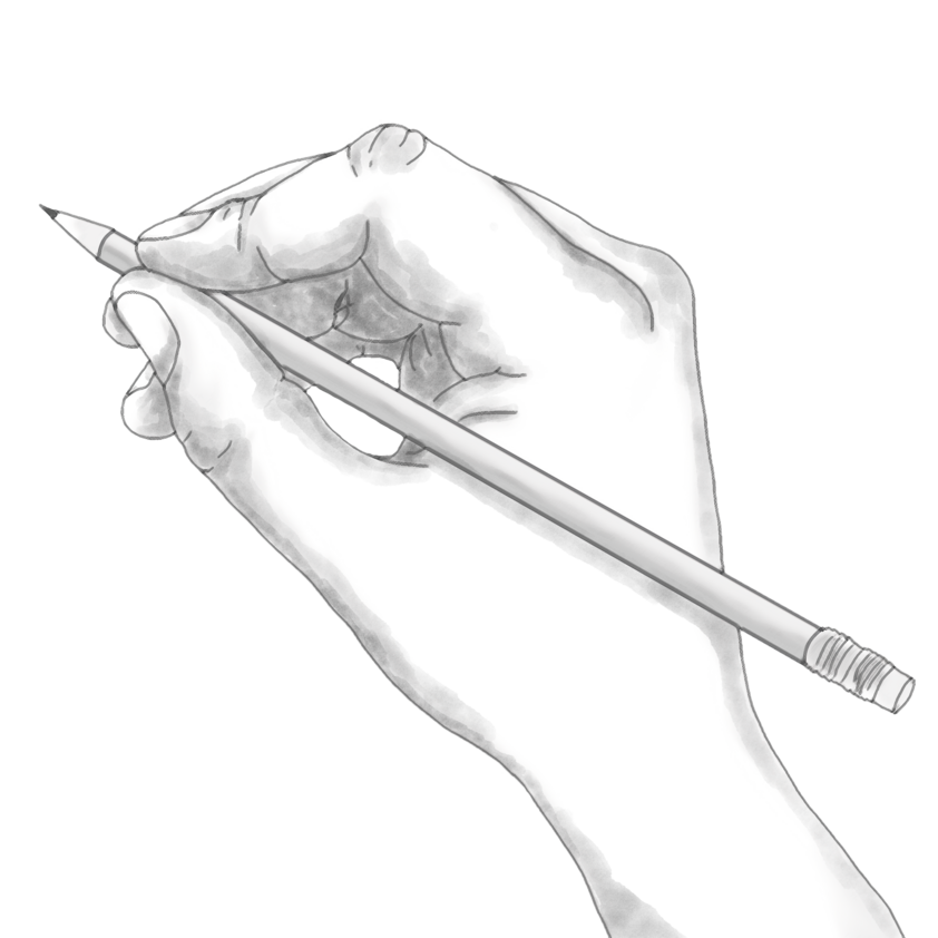 One hand holds a pencil
